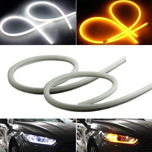 iJDMTOY Xenon White/Amber Yellow Switchback LED Tube Strip Lights Compatible With Headlight Retrofit w/Even Lighting Illumination