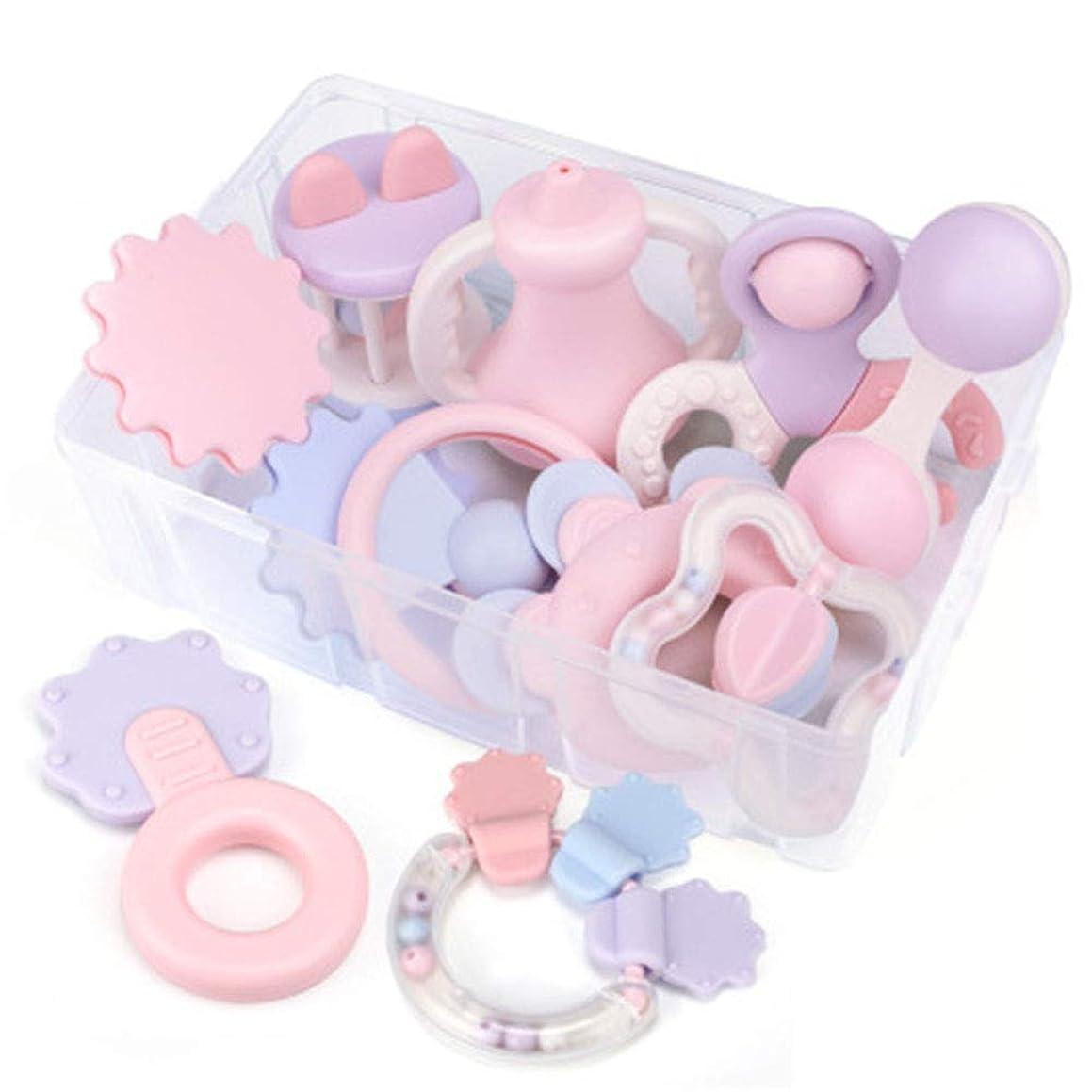 縫う人種終了するベビーギフトボックス、新生児ゆでガラガラギフトセット、幼児のおしゃぶりガラガラギフトのおもちゃセット