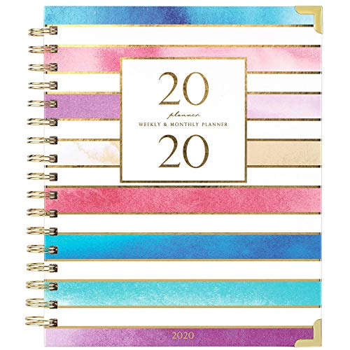 2020 Planner - Weekly & Monthly Planner 2020, Thick Paper with Colorful Tabs - 9.3' x 8.25', Twin-Wire Binding with 19 Notes Pages + Two-Sided Inner Pocket + Gift Box