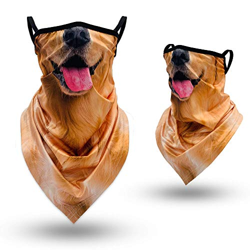 Animal Neck Gaiter Face Mask with Ear Loops, Funny Golden Retriever Face Cover Bandana Scarf Mask for Women Men, UV Protection Windproof Dust Breathable Elastic Mask for Motorcycle Cycling Hiking Ski