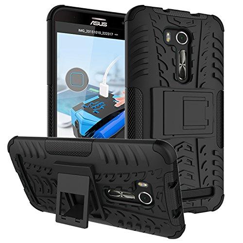 PAIPAIGUAN ASUS Zenfone Go ZB551KL(5.5 Zoll) hülle(Silikon Series) TPU + PC 2-in-1-Double-Layer-idealer Schutz,Stoßfest Handyhülle Drop Resistance Handys Schutz Hülle mit Ständer für-Schwarz
