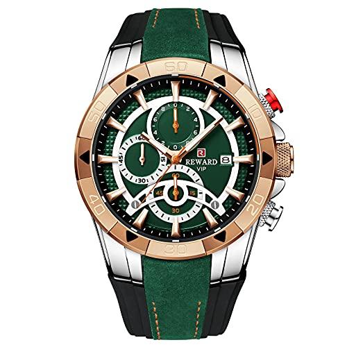 RORIOS Hombre Relojes Analogicos Cuarzo Reloj con Correa en Silicona Cronografo Deportivo Relojes Multifuncional Reloj para Hombre
