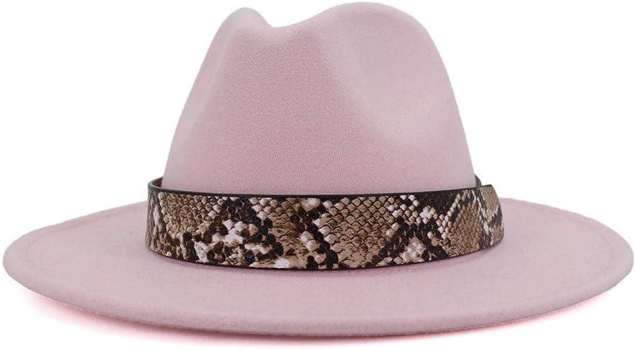 no-branded Men Women Autumn Winter Cotton Sturdy Jazz Hat Fedora Hat Fashion Ribbon Decoration Elegant Hat ZRZZUS (Color : Pink, Size : 59-60cm)