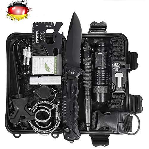 Kit di sopravvivenza all\'aperto 15 in 1 Set strumento di pronto soccorso di emergenza multiuso con pinze per braccialetto di sopravvivenza Torcia per avviamento di fuoco