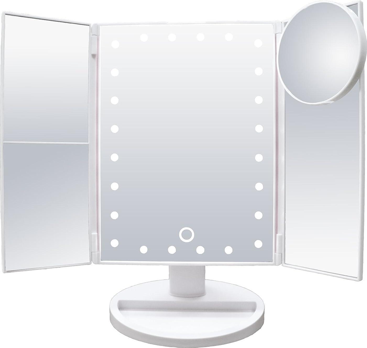 郡説教ミシン目santasan LED化粧鏡 24灯LED 女優ミラー 15倍拡大鏡付き 卓上 折り畳み式 三面鏡 (ホワイト)