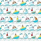 Tela de algodón 100 % para niños, por metros, artesanía, tela de costura, diseño de barco pirata, 150 x 160 cm