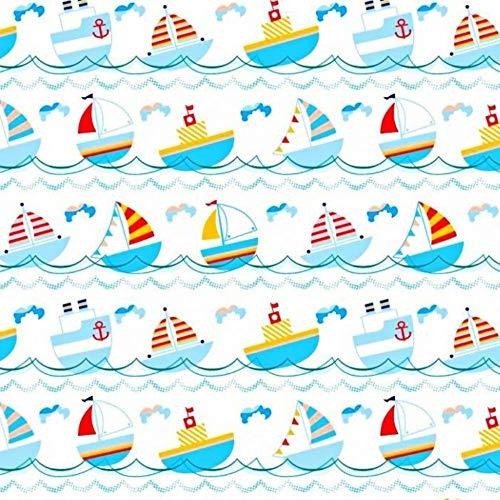 Tela de algodón 100 % para niños, por metros, artesanía, tela de costura, diseño de barco pirata, 300 x 160 cm
