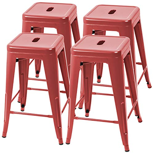 Furmax 24 Inches Metal Bar Stools High Backless Indoor-Outdoor Counter Height Stackable Stools Set of 4(Red)