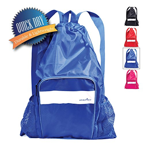 Athletico Mesh Swim Bag - Mesh Pool Bag With Wet & Dry Compartments for Swimming, the Beach, Camping and More (Blue)
