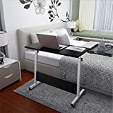 Laptop Side Table, Household Adjustable Mobile Standing Desk Can Be Lifted and Folded Folding Computer Tablet Portable Home Office Study Bed Sofa Side Desks Cart (US Direct, Black)