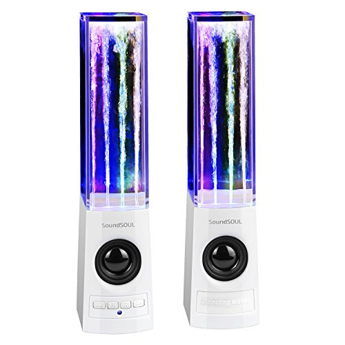 SoundSOUL Bluetooth Speakers Water Dancing Wireless Speakers Light Show Water Fountain Speaker for Christmas (Dual 3W Speakers, 4 Colored LEDs, Built-in Rechargeable 1800mAh Battery) - White