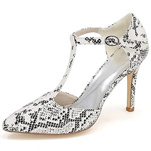 Zapatos De Boda De Punta Cerrada Tacones Altos para Mujer T-Strap Zapatos De Novia Zapatos De Noche De Dama De Noche Cómodo Boda Zapatos Nupciales,Blanco,36 EU