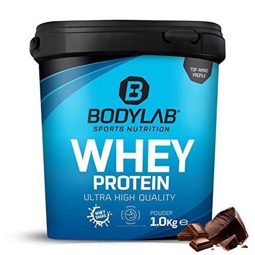 Protein-Pulver Bodylab24 Whey Protein Double Chocolate 1kg, Schokolade-Protein-Shake für den Kraftsport, Whey-Pulver kann den Muskelaufbau unterstützen, Hochwertiges Eiweiss-Pulver, Aspartamfrei