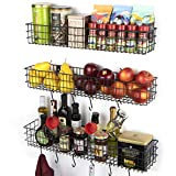 Wall35 Kansas Wall Mount Kitchen Storage Pantry Organizer Fruit Basket with 10 Hooks Metal Wire...
