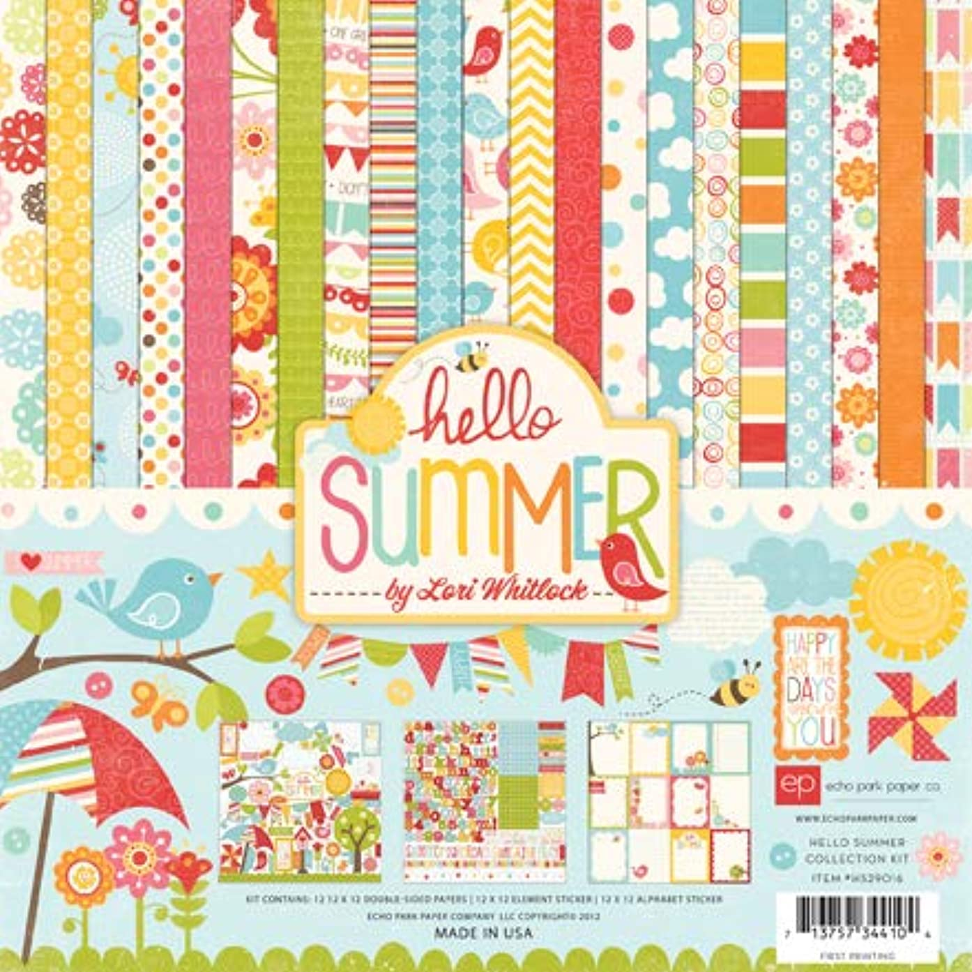 Echo Park Paper Company HS29016TM Hello Summer Collection Scrapbooking Kit by Lori Whitlock Features Flowers, Butterflies, Birds, Clouds, Banners, Bumble Bees, Umbrellas, and More