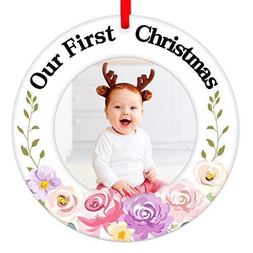 FaCraft Baby's First Christmas Ornament Photo Frame 2020,Floral Our First Christmas Baby Picture Frame for New Born Baby Boy Girl