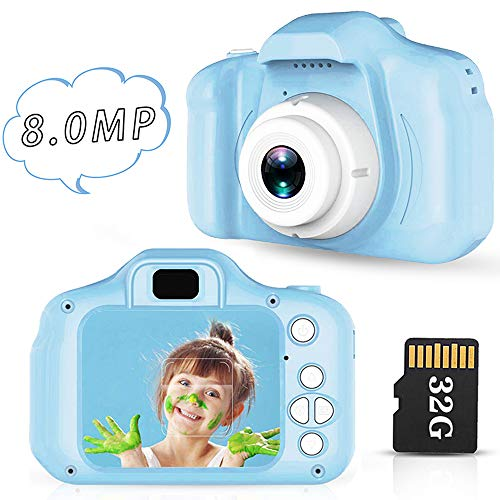 Lovebay Camara Fotos Niños Tiro Inteligente Camara De Fotos para Niños 2.0 Pulgadas IPS Color Pantalla 8 Millones de Píxeles Cámara Foto Video 3-12 Años Juguetes para Niños de Edad 4-5-6-7 Años (Azul)