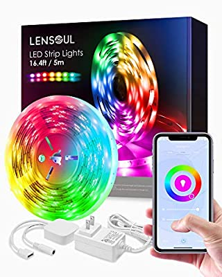 LED Light Strips 16.4ft, LENSOUL RGB 5050 Lights Strip Music Sync, Smart WiFi LED Strip Lights Works with Alexa, Google, App Control Light Color Changing, Waterproof Flexible LED Light for Room, Party