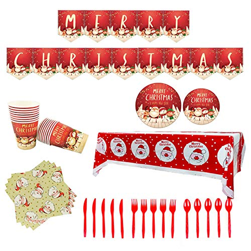 Zheng Christmas Party Supplies Disposable Dish Cup Serves 16 Banner Paper Plates
