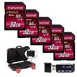 Transcend 32GB Premium Class 10 UHS-I 400X SDHC Memory Card (5-Pack) + Memory Card Hard Case + Hi-Speed SD USB Card Reader