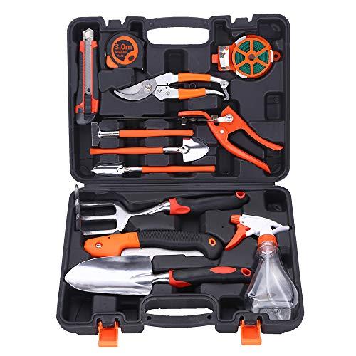 WJGJX Ensemble d'outils de Jardinage 12 pièces en Acier Inoxydable avec boîte de Rangement, sécateur, râteau, Pelle, truelle, pulvérisateur, etc.