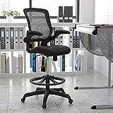 Flash Furniture Mid-Back-Silla de Trabajo ergonómica (Malla Negra, Anillo Ajustable para el pie y Brazos abatibles), Metal, 68.58 x 68.58 x 125.73 cm