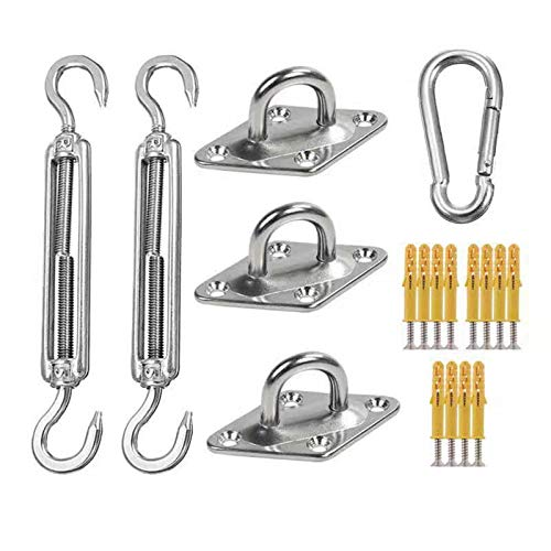DMMSS Sun Shade Hardware Kit for Rectangle And Square Sun Shade Sails Installation,Heavy Duty Anti-Rust Sail Shade Hardware Kit with Cable Wire Ropes