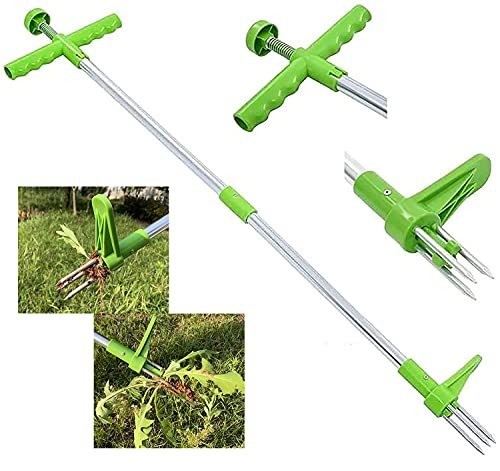 """Avwlan Stand Up Weed Puller Tool Root Remover Tool with 3 Stainless Steel Claws 39"""" Aluminum Alloy Pole Manual Weeder Puller Remover Hand Tool"""