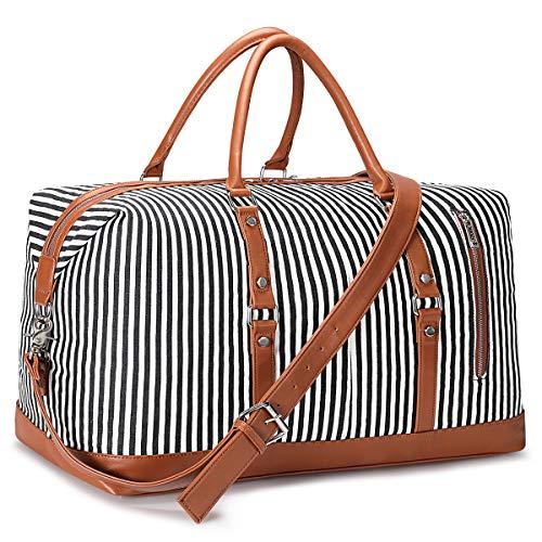 S-ZONE Übergröße Reisetasche Canvas PU Leder Weekender Tasche Handgepäck mit Abnehmbar Schulterriemen für Reise Urlaub Wochenende Gym