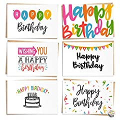 - 120 PACK: Wish that special someone a happy birthday with personalized cuteness! This bulk set includes 120 blank Happy Birthday cards in 6 different colorful designs to suit any personality. Whether it's family, a friend, neighbor, or colleague, y...