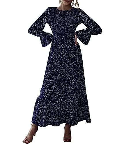 Wellwits Vestido largo de manga larga con volantes y lunares para mujer, azul marino, Small