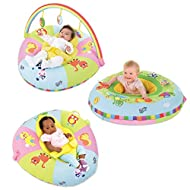Double-sided Playnest plus soft rainbow gym with 3 toys Playnest is a fabric-covered inflatable which supports baby during rest and play from birth, lying down and later sitting up on one side, a soft velour resting area with harness cradles a young ...