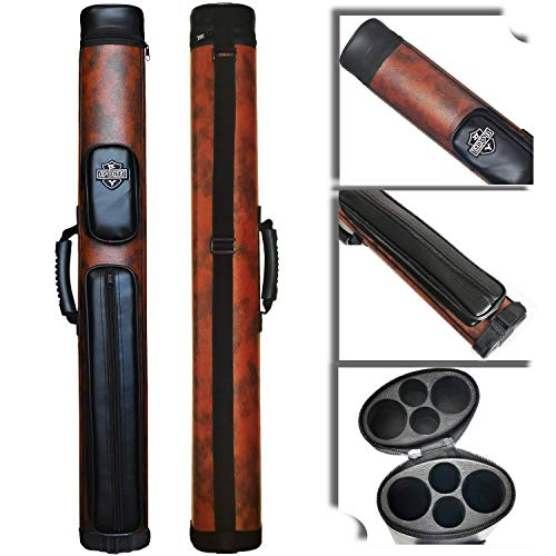 BY SPORTS 2x2 Hard cue case Oval Pool Cue Billiard Stick Carrying Case