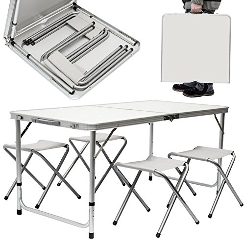 BAKAJI Tavolo Camper Campeggio Picnic Alluminio Pieghevole a Valigetta per Spiaggia o Giardino, Dimensioni 120 x 60 x 70cm, con 4 Sgabelli Pieghevoli, Richiudibile a Valigetta