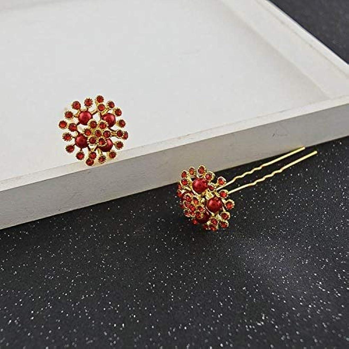 ボックス廃棄する皮LUOSAI 結婚式のためのラインストーンの花のヘアピンエレガントなヘアアクセサリーヘアピン(赤)ヘアピン2本
