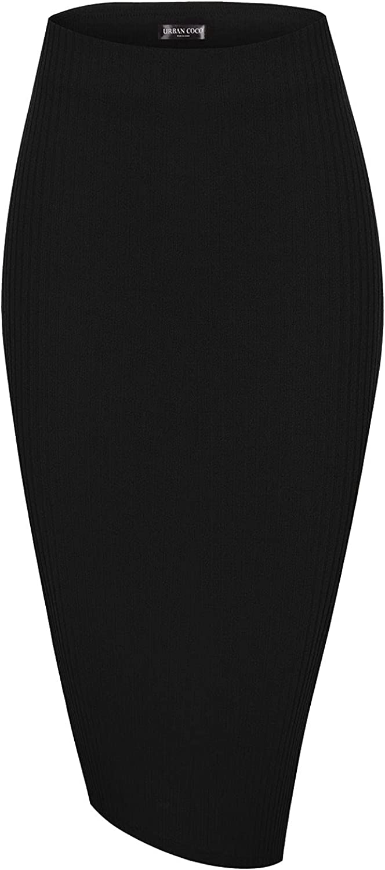 Urban CoCo Elastic High Waist Knee Length Pencil Skirt Ribbed Knit Basic Tube Midi Skirt