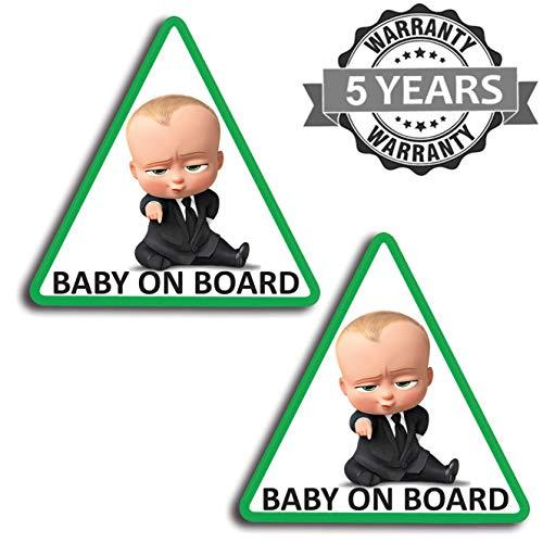 Biomar Labs® 2 Stück Vinyl Baby an Bord Kinder im Auto Grün Aufkleber Autoaufkleber Stickers Auto Moto Motorrad Fahrrad Helm Fenster Tuning B 175