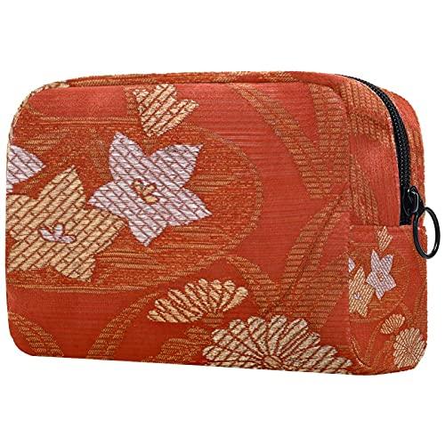 Sacs cosmétiques pour Femmes, Sacs de Maquillage Sacs de Toilette de Toilette Pochette de Voyage Cadeaux - Fleur Japonaise Rouge Golden Chrysanthemum Vintage