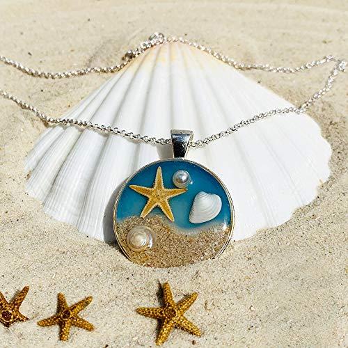Ocean Breeze- Seestern Halskette |Silberkette |Strandsandschmuck | Boho | Surfer Geschenke für Sie | 26UL