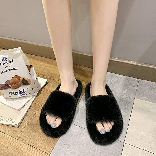 HUSHUI Zapatos Memory AlgodóN Pantuflas,Slip Pantuflas Suaves y Abiertas, Moda Plana algodón-Negro_42,CáLido Pantuflas Memoria Espuma