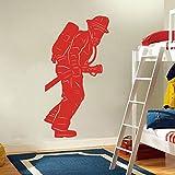 yaonuli Bombero Héroe Etiqueta de la Pared Habitación del niño Calcomanía de Pared Dormitorio Habitación de los niños Decoración de Vinilo 63X33cm