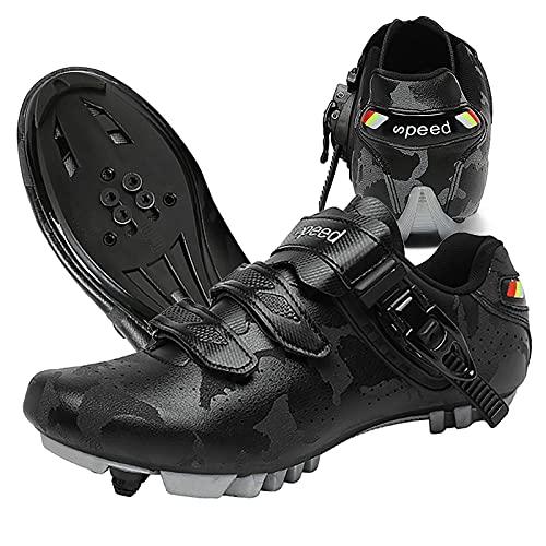 DSMGLRBGZ Zapatilla de Ciclismo, (36-47) con Descoloramiento, Transpirable Suela de Nailon, Sin Cordones, Zapatillas de Hombre Mujer de Bicicleta de Carretera,Negro,39