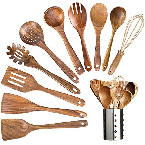 11 Pcs Wood Utensils Set With Holder,Nature Teak Wooden Utensil for Kitchen Nonstick Wooden Cooking Spoons with Spatula,Turner,Egg Whisk,Fork,Strainer Spoon,wooden utensils