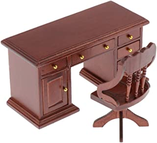 Dollhouse Furniture 1 12 Scale Wooden Writing Desk Set Computer Table Chair with Working Drawers for Dolls House Study Off...