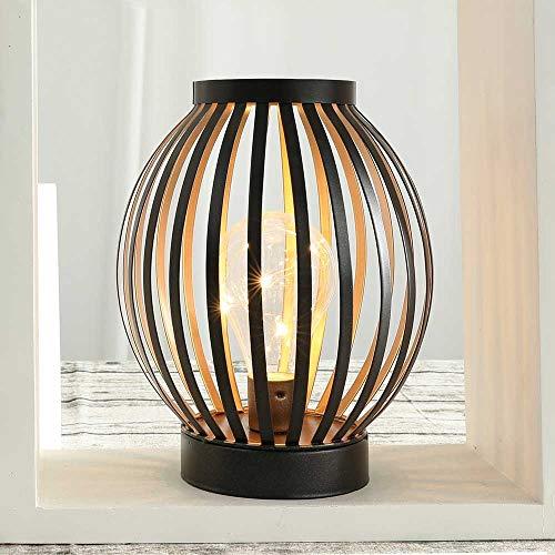 JHY DESIGN LED-Tischlampe 22cm Hoch Metallkäfig batteriebetrieben Schnurlos Nachttischlampe mit Edison-Birne für Schlafzimmer Zuhause Hochzeiten Partys Terrasse drinnen draußen (Bronze runde Form)