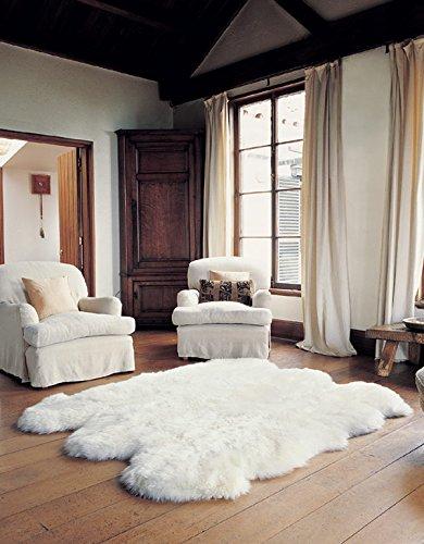 Schaffell Lammfell Teppich Kaminvorleger Wohnzimmerteppich 6-Fach 180x160cm Weiss