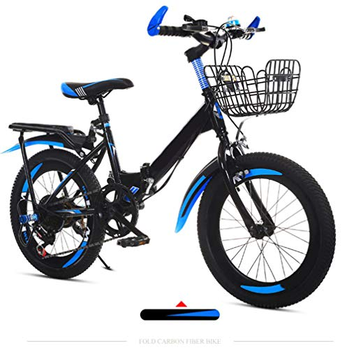 "SYCHONG Kinder Klapprad, 22"" Kinder Folding Mountain Bike Variable Speed ​​Blau/Rot Alter 11+,Blau"