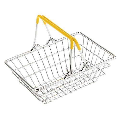 Juguetes Juegos Hogar Mini Carro Cesta de Compras de Mano Niños - S, Amarilla