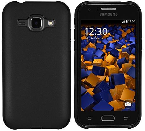 mumbi Hülle kompatibel mit Samsung Galaxy J1 Handy Hülle Handyhülle, schwarz