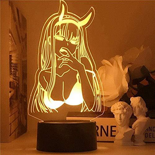 Luz de noche Anime 3D Óptica 3D Lámpara de noche Anime Waifu Zero Dos Figuras Cama Mesa Decoración de la habitación Regalo Luz Darling Noche Lámpara Táctil para Niños 7 Colores